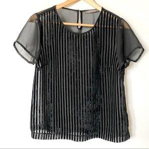 Suzy Shier Small Sheer/ Velvet Striped Blouse